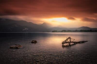 Lac de Kochelsee, Bavière Coucher de soleil orage lac reflet Geoffrey Lje