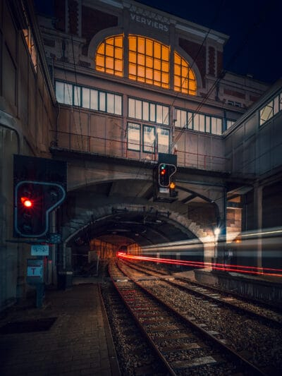 Gare de Verviers Belgique Train light trails tunnel Geoffrey Lje