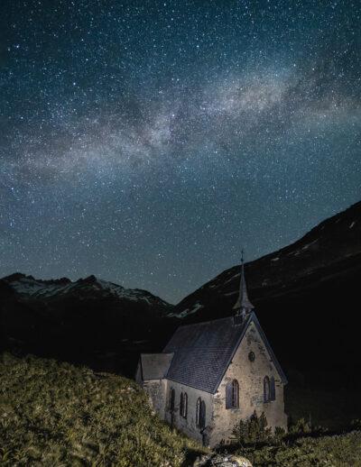 Chapelle Suisse voie lactée Col du furka Geoffrey Lje