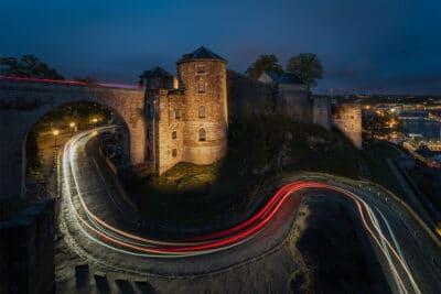 Citadelle de Namur Belgique light trails night trails Geoffrey Lje heure bleue