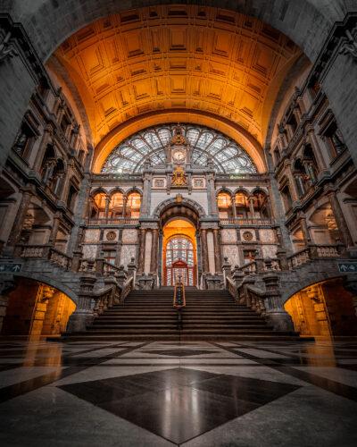 Hall de la gare d'Anvers grand angle Geoffrey Lje