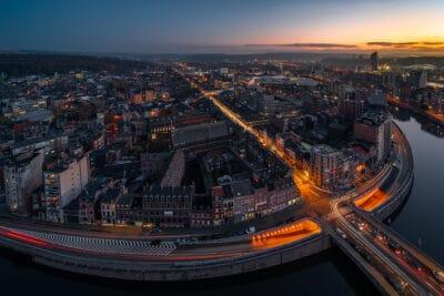 Liège et le quartier du Longdoz vu d'en haut. sunset Geoffrey Lje cityscape